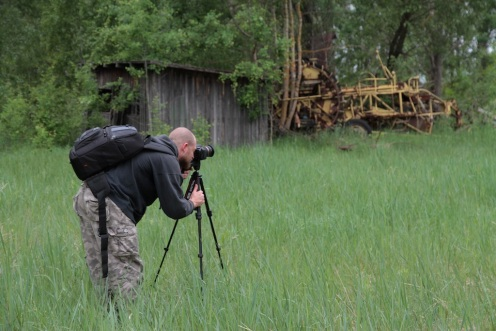Shane photographing in Chernobyl 2012.  Photo: Kitten of Doom